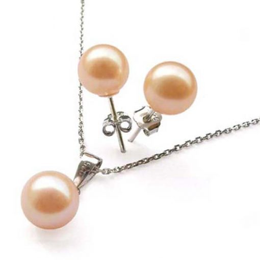 7-7.5mm AAA Pink Pearl Necklace and Earring Set