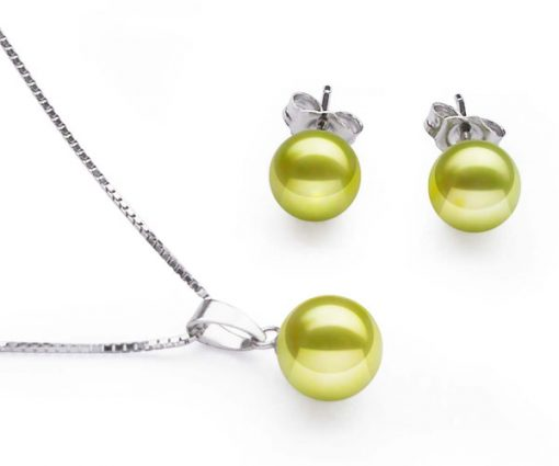 7-7.5mm AAA Spring Green Pearl Necklace and Earring Set