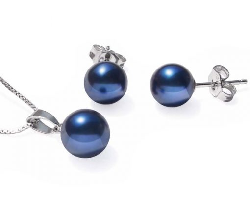 7-7.5mm AAA Navy Blue Pearl Necklace and Earring Set