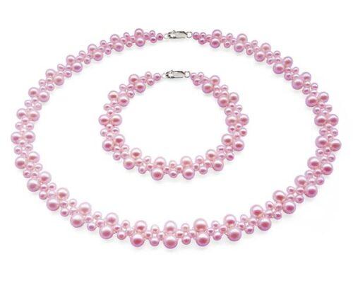 Mauve Pearl Necklace and Bracelet Set