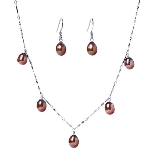 7-8mm Dangling Chocolate Pearl Necklace and Earrings Set