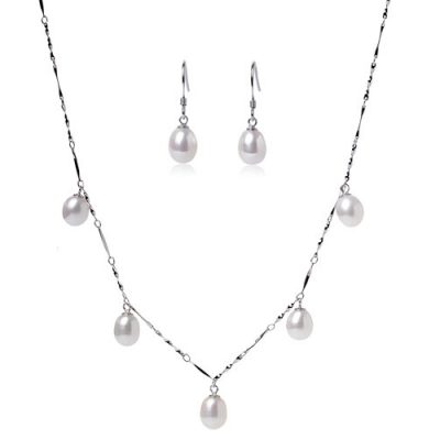 7-8mm Dangling White Pearl Necklace and Earrings Set