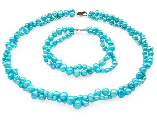 Double Strand Bright Blue Baroque Pearl Necklace and Bracelet Set
