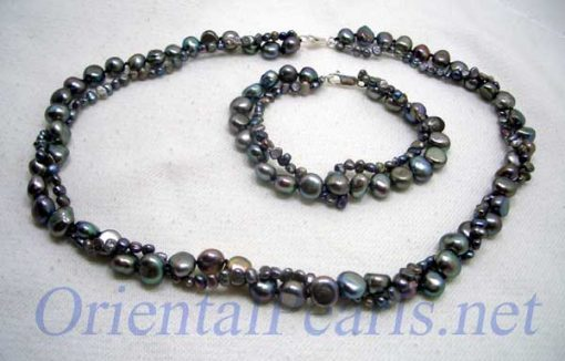 Double Strand Black Baroque Pearl Necklace and Bracelet Set