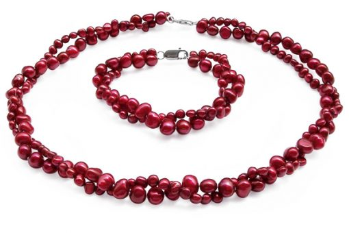 Double Strand Cranberry Baroque Pearl Necklace and Bracelet Set
