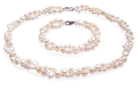 Double Strand White Baroque Pearl Necklace and Bracelet Set
