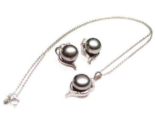 9.5-10mm AAA Black Pearl Necklace and Earrings Set