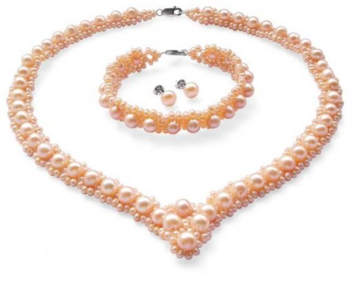 All Pink Pearl Necklace, Bracelet and Earrings Set