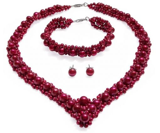 All Cranberry Pearl Necklace, Bracelet and Earrings Set