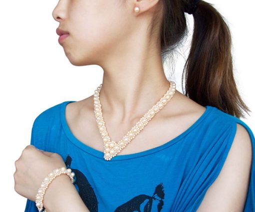 All Champagne Pearl Necklace, Bracelet and Earrings Set