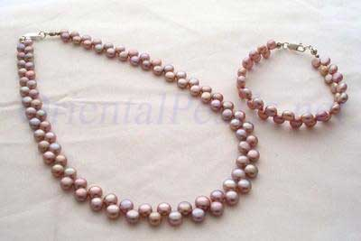 6-7mm Lavender Pancake Pearl Necklace and Bracelet Set