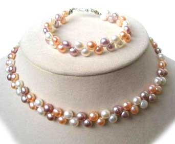6-7mm Multi-Color Pancake Pearl Necklace and Bracelet Set