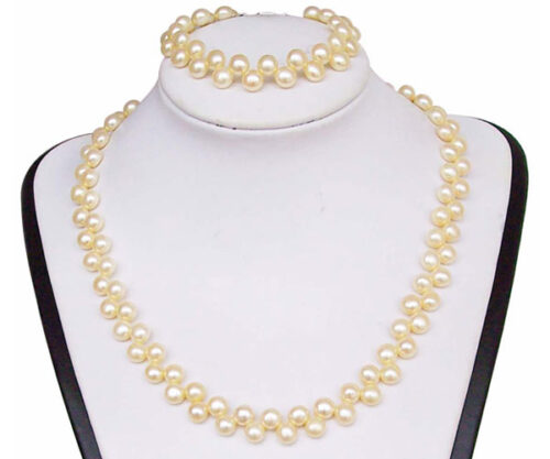 6-7mm White Pancake Pearl Necklace and Bracelet Set