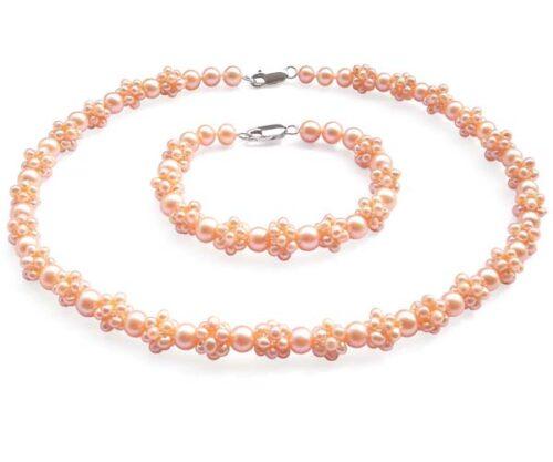 Pink Pearl Necklace and Bracelet Set