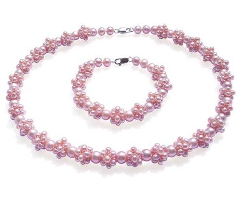 Lavender Pearl Necklace and Bracelet Set