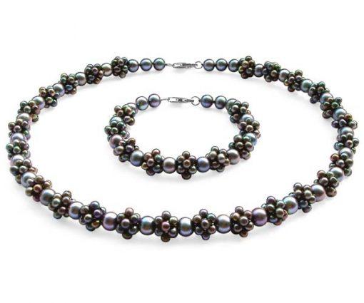 Black Pearl Necklace and Bracelet Set
