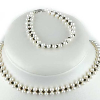 White Pearl and Black Swarovski Crystal Necklace and Bracelet Set
