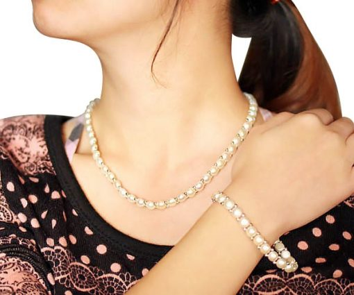 White Button Pearl Necklace and Bracelet Set