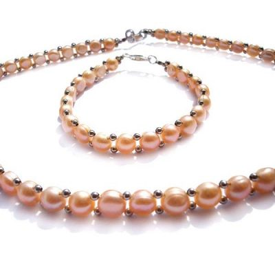 Pink Button Pearl Necklace and Bracelet Set