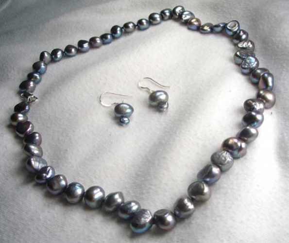 Grey Baroque Pearl Necklace and Earrings Set