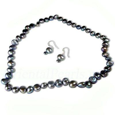 black baroque pearl necklace earrings set
