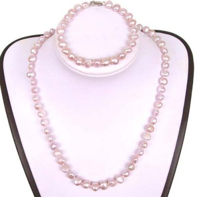 Mauve Baroque Pearl Necklace, Bracelet and Earrings Set
