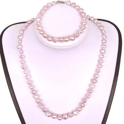 Mauve Baroque Pearl Necklace, Bracelet and Earrings Set
