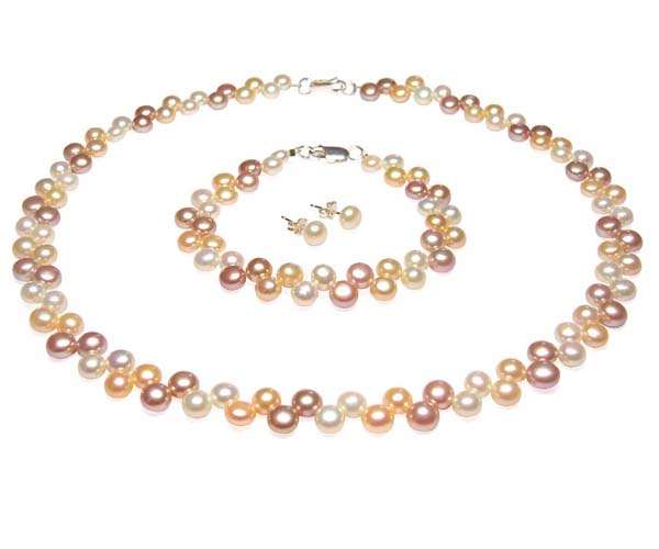 Multi-Color Pearl Necklace, Bracelet and Earrings Set