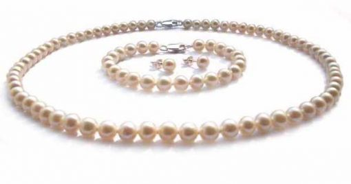 6-7mm White Round Pearl Necklace, Bracelet and Earrings Set