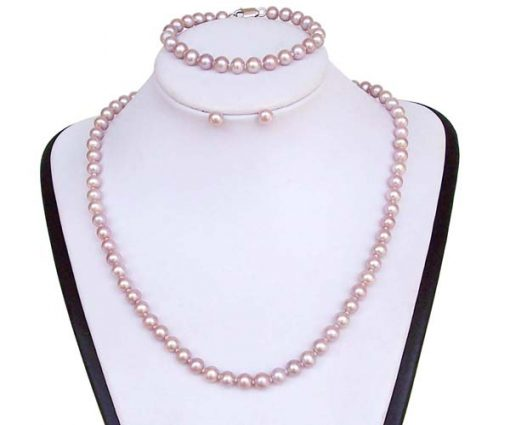6-7mm Lavender Round Pearl Necklace, Bracelet and Earrings Set