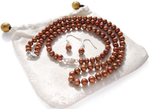 6-7mm Chocolate Round Pearl Necklace, Bracelet and Earrings Set