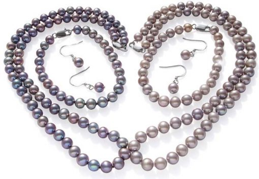 6-7mm Grey Round Pearl Necklace, Bracelet and Earrings Set