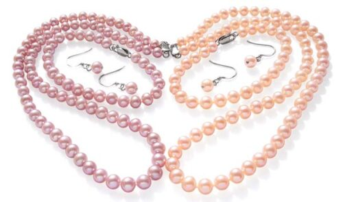 6-7mm Pink or Mauve Round Pearl Necklace, Bracelet and Earrings Set
