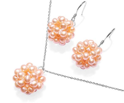 Pink Snowball Shaped Pearl Necklace and Earrings Set
