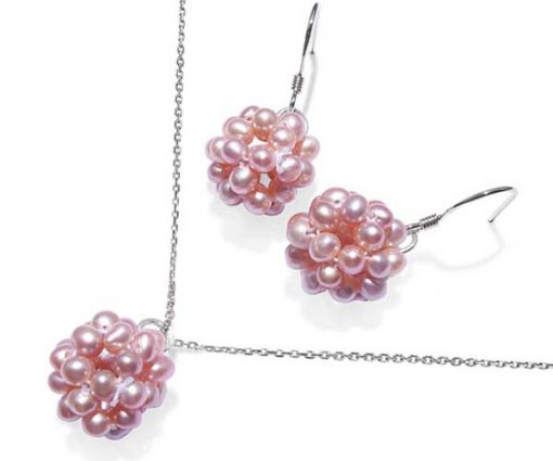 Mauve Snowball Shaped Pearl Necklace and Earrings Set
