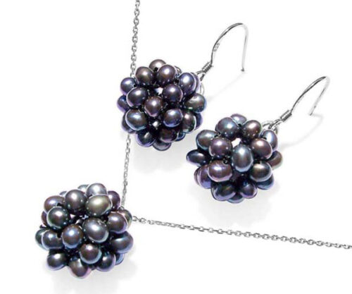 Black Snowball Shaped Pearl Necklace and Earrings Set