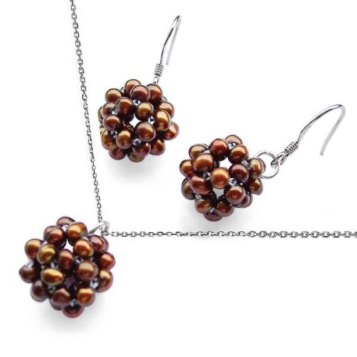 Chocolate Snowball Shaped Pearl Necklace and Earrings Set