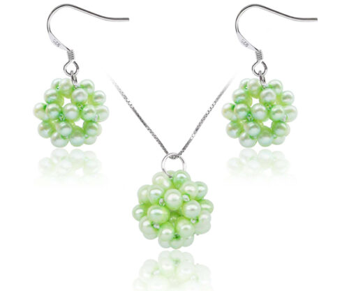 Light Green Snowball Shaped Pearl Necklace and Earrings Set