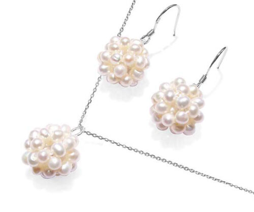 White Snowball Shaped Pearl Necklace and Earrings Set