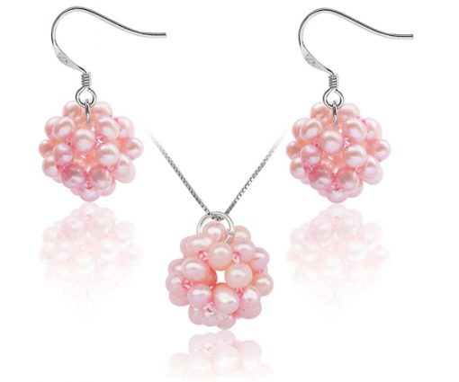 Baby Pink Snowball Shaped Pearl Necklace and Earrings Set