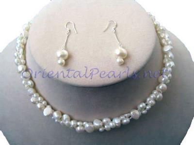 White Baroque Pearl Necklace and Earrings Set