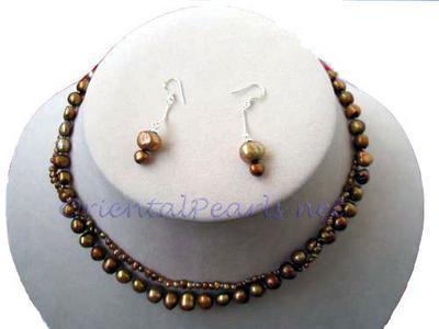 Chocolate Baroque Pearl Necklace and Earrings Set