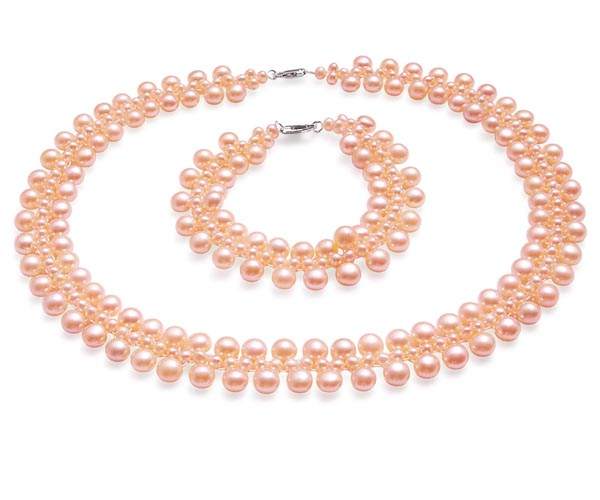 Pink Pearl Necklace and Bracelet Set