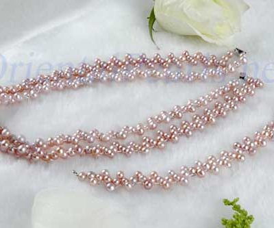 Double Strand 4.5-5mm Lavender Round Pearl Necklace and Bracelet Set