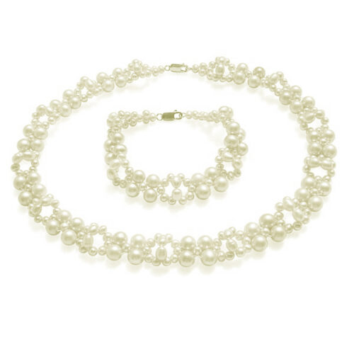 White Wedding Pearl Necklace and Bracelet Set in 925 Sterling Silver