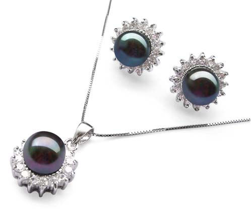 9-10mm AAA Black Pearl Necklace and Earrings Set