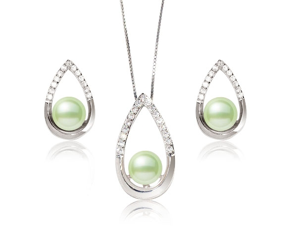 Olive Green 7-8mm Pearl Pendant and Earrings Set