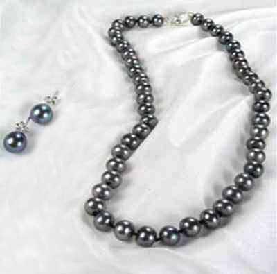 Black Colored Pearl Set