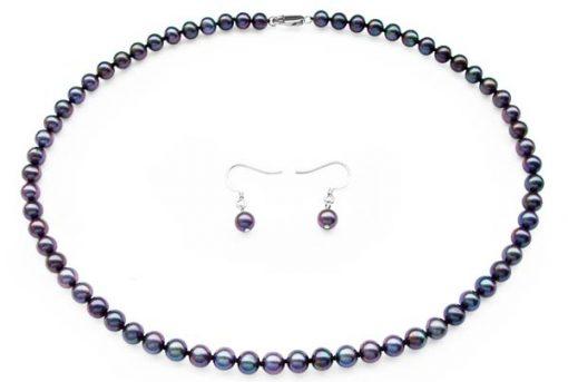 Multi-Black Colored Pearl Set