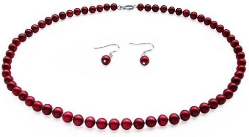 Cranberry Colored Pearl Set